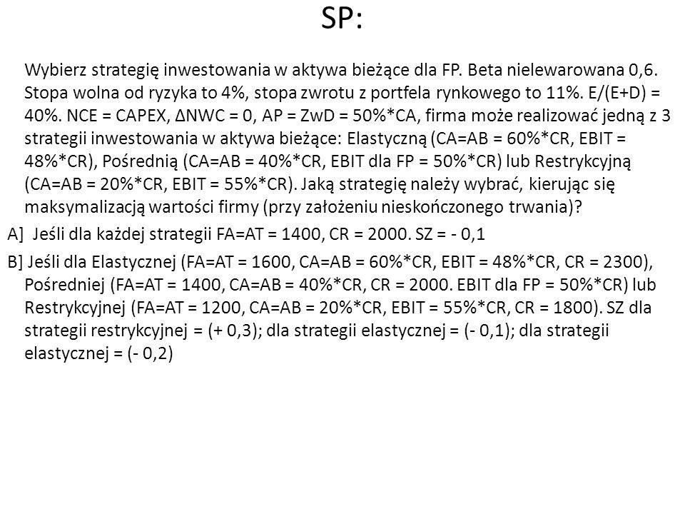 SP: Wybierz strategię inwestowania w aktywa bieżące dla FP. Beta nielewarowana 0,6. Stopa wolna od ryzyka to 4%, stopa zwrotu z portfela rynkowego to
