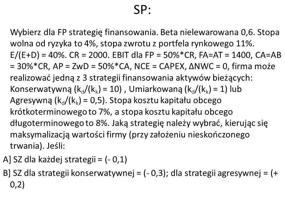 SP: Strategie finansowania aktywów płynnych Wybór strategii zależy od elastyczności (odporności) firmy na ryzyko: Bardziej odporna na ryzyko firma, większe korzyści osiągnie ze strategii bardziej agresywnej (mniej długoterminowego finansowania, uzupełnianie zapotrzebowania na pieniądz finansowaniem krótkoterminowym) Mniej odporna na ryzyko firma, powinna bardziej preferować strategię bliższą konserwatywnej (więcej długoterminowego finansowania, odprowadzanie nadwyżek pieniądza na krótkoterminowe depozyty) Zarówno Jan jaki i Janina powinni preferować strategie bliskie konserwatywnej, choć strategia Jana może bardziej wykorzystywać finansowanie krótkoterminowe (czyli może być mniej konserwatywna od strategii Janiny)