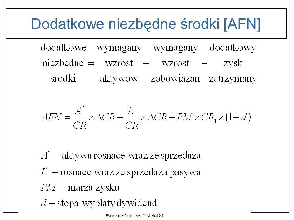 1-11 Planowanie Finansowe [Michalski G.] Zarządzanie Finansami Firmy dla Puratos Polska [Michalski G.] Dodatkowe niezbędne środki [AFN]