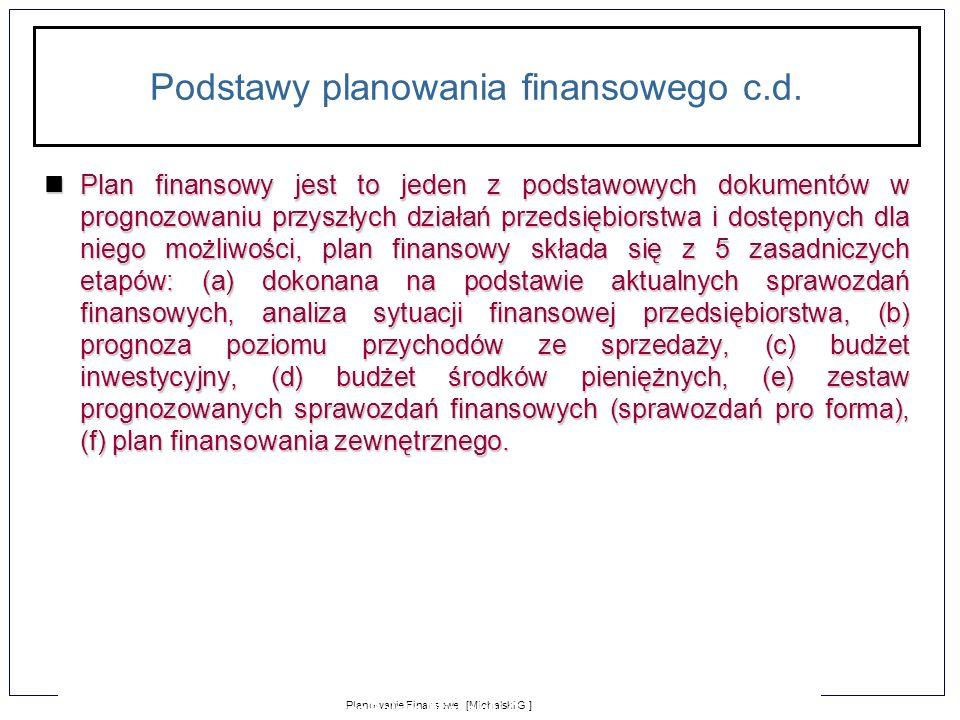 1-15 Planowanie Finansowe [Michalski G.] MPoS Jeśli obecne CR = 10000, VC = 3000, FC = 2000, należności = 2000, zapasy = 1500, środki pieniężne = 500, zobowiązania bieżące = 2500, NCE = 2500.