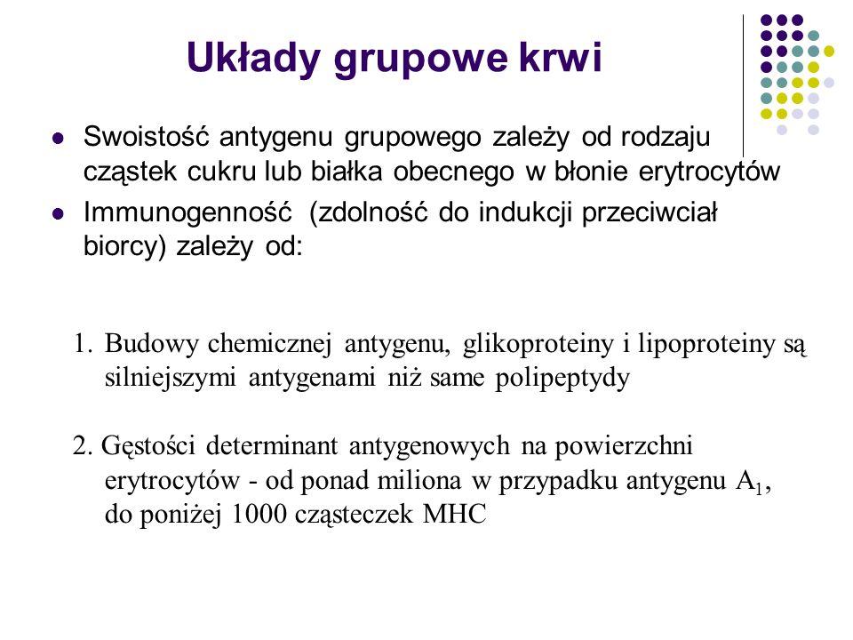 Swoistość antygenu grupowego zależy od rodzaju cząstek cukru lub białka obecnego w błonie erytrocytów Immunogenność (zdolność do indukcji przeciwciał