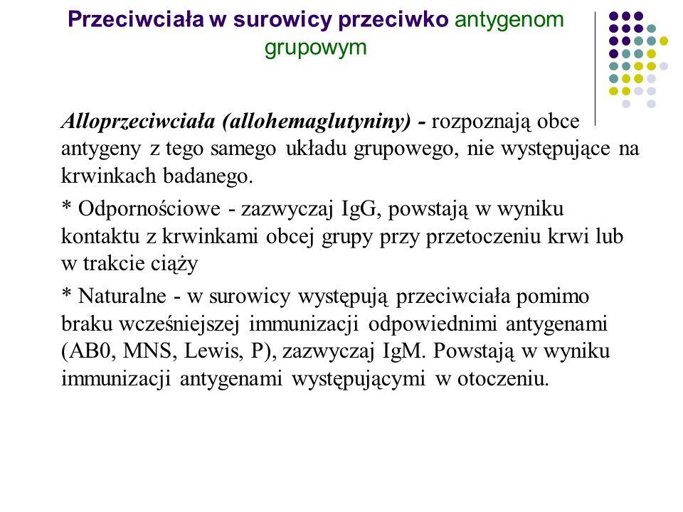 Przeciwciała w surowicy przeciwko antygenom grupowym Alloprzeciwciała (allohemaglutyniny) - rozpoznają obce antygeny z tego samego układu grupowego, n