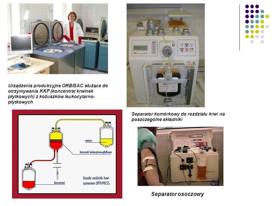 Urządzenia produkcyjne ORBISAC służące do otrzymywania KKP (koncentrat krwinek płytkowych) z kożuszków leukocytarno- płytkowych Separator komórkowy do