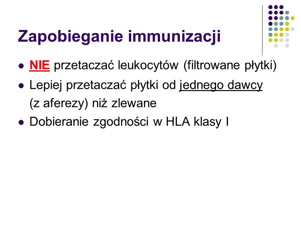 Zapobieganie immunizacji NIE przetaczać leukocytów (filtrowane płytki) Lepiej przetaczać płytki od jednego dawcy (z aferezy) niż zlewane Dobieranie zg