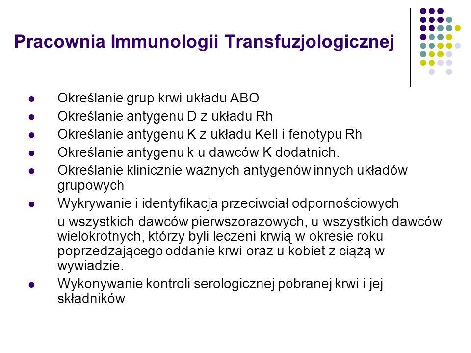 Pracownia Immunologii Transfuzjologicznej Określanie grup krwi układu ABO Określanie antygenu D z układu Rh Określanie antygenu K z układu Kell i feno
