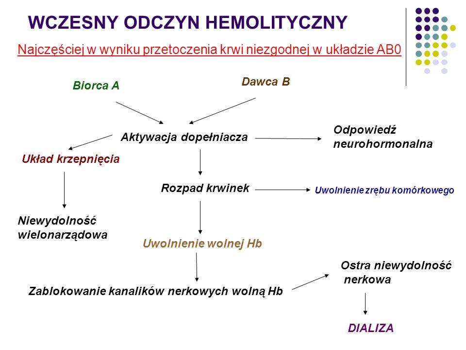 WCZESNY ODCZYN HEMOLITYCZNY Najczęściej w wyniku przetoczenia krwi niezgodnej w układzie AB0 Biorca A Dawca B Aktywacja dopełniacza Odpowiedź neurohor