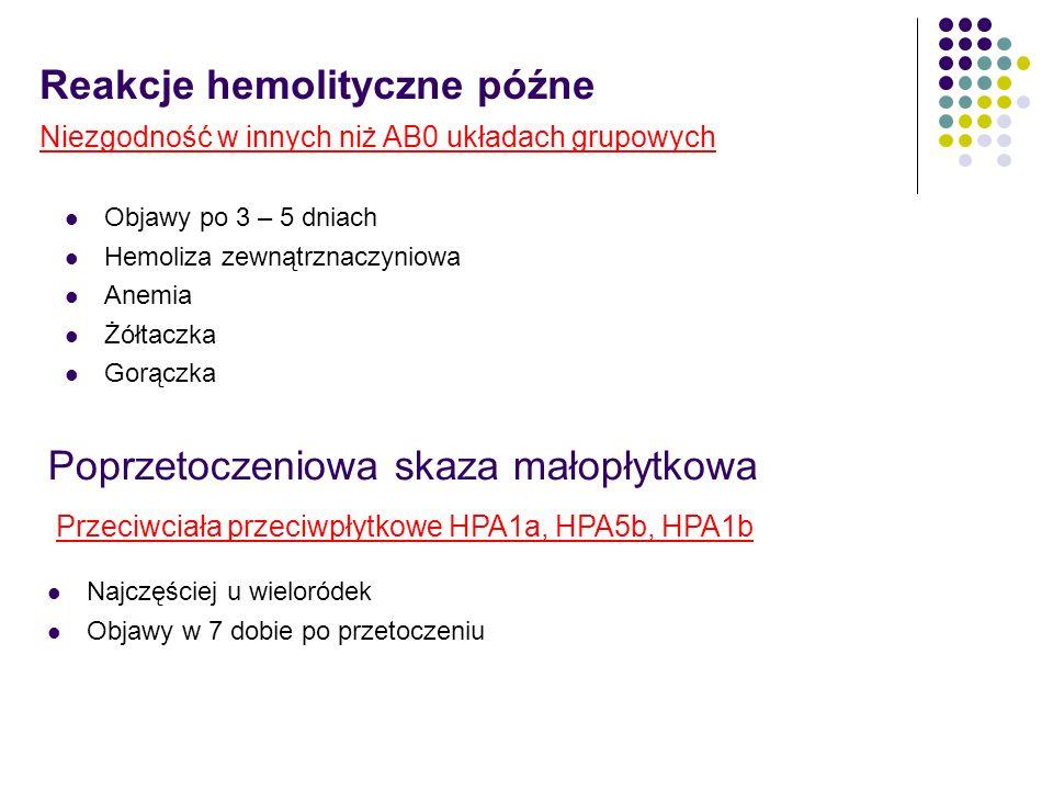 Reakcje hemolityczne późne Objawy po 3 – 5 dniach Hemoliza zewnątrznaczyniowa Anemia Żółtaczka Gorączka Niezgodność w innych niż AB0 układach grupowyc