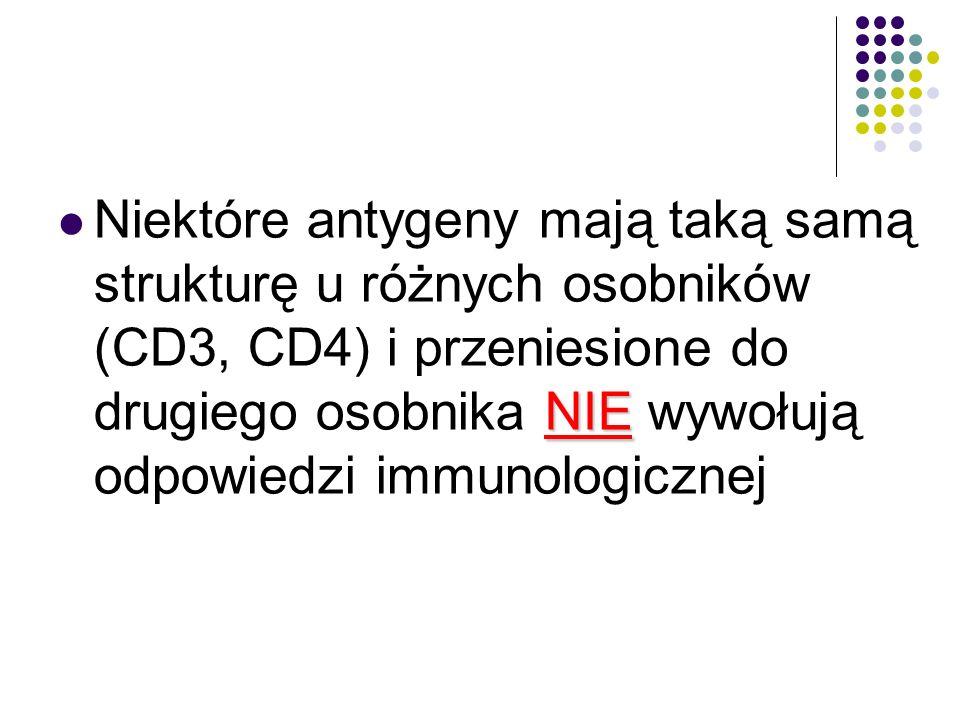 NIE Niektóre antygeny mają taką samą strukturę u różnych osobników (CD3, CD4) i przeniesione do drugiego osobnika NIE wywołują odpowiedzi immunologicz