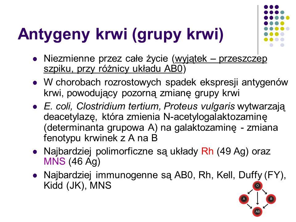 Antygeny krwi (grupy krwi) Niezmienne przez całe życie (wyjątek – przeszczep szpiku, przy różnicy układu AB0) W chorobach rozrostowych spadek ekspresj
