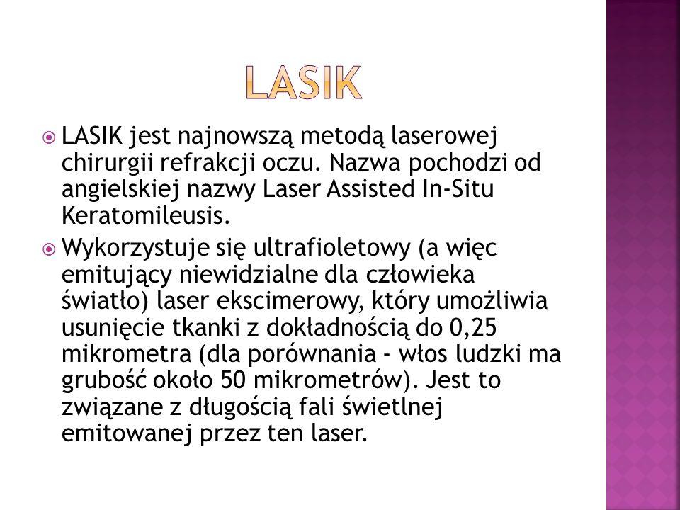 LASIK jest najnowszą metodą laserowej chirurgii refrakcji oczu. Nazwa pochodzi od angielskiej nazwy Laser Assisted In-Situ Keratomileusis. Wykorzystuj