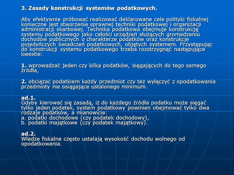 3. Zasady konstrukcji systemów podatkowych. Aby efektywnie próbować realizować deklarowane cele polityki fiskalnej konieczne jest stworzenie sprawnej