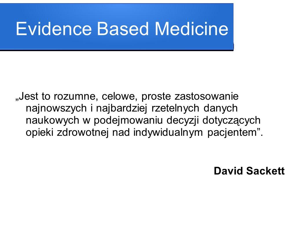 Evidence Based Medicine Jest to rozumne, celowe, proste zastosowanie najnowszych i najbardziej rzetelnych danych naukowych w podejmowaniu decyzji doty