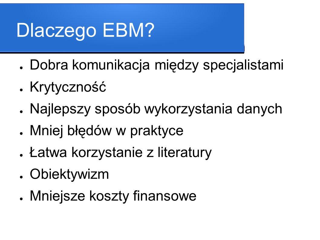 Dlaczego EBM? Dobra komunikacja między specjalistami Krytyczność Najlepszy sposób wykorzystania danych Mniej błędów w praktyce Łatwa korzystanie z lit