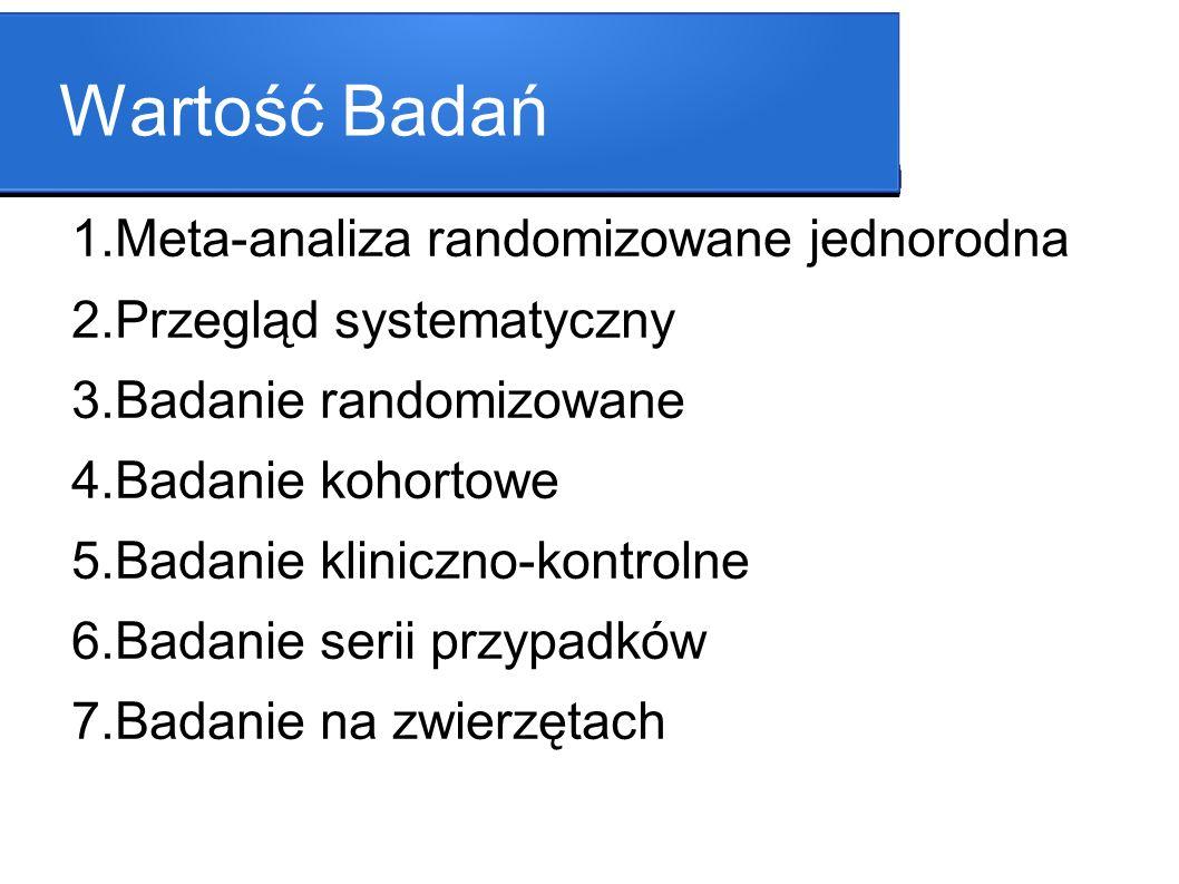 Wartość Badań 1.Meta-analiza randomizowane jednorodna 2.Przegląd systematyczny 3.Badanie randomizowane 4.Badanie kohortowe 5.Badanie kliniczno-kontrol