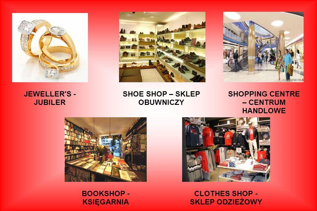 Shopping – zakupy FRUIT AND VEG SHOP - WARZYWNIAK BAKERY -PIEKARNIA CHEMIST'S/ PHARMACY - APTEKA FLORIST'S/ FLOWER SHOP - KWIACIARNIA SUPERMARKET - SU