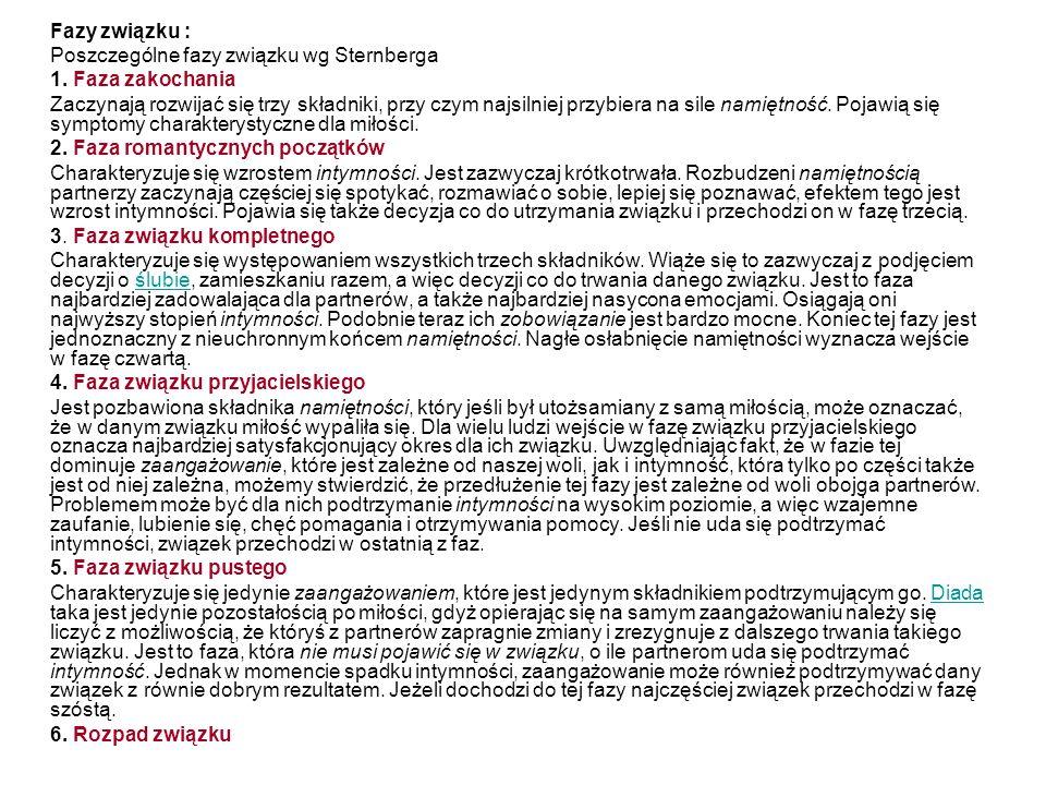 Fazy związku : Poszczególne fazy związku wg Sternberga 1.