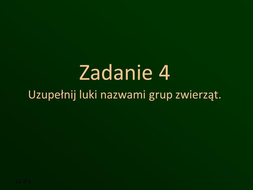 Zadanie 4 Uzupełnij luki nazwami grup zwierząt. 12-3-1
