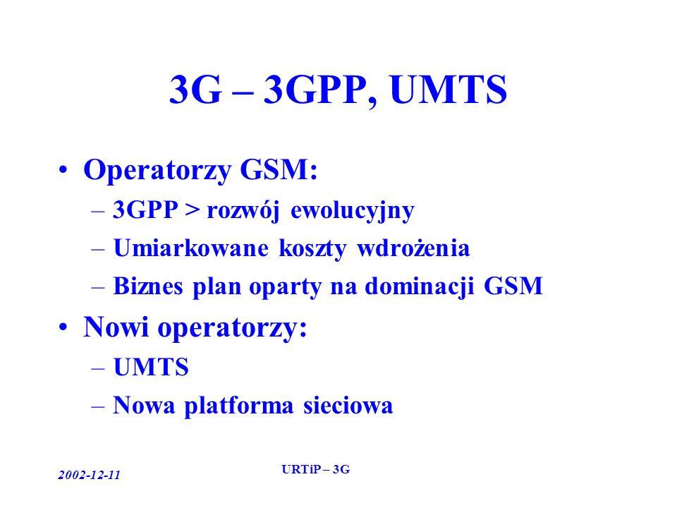 2002-12-11 URTiP – 3G 3G – 3GPP, UMTS Operatorzy GSM: –3GPP > rozwój ewolucyjny –Umiarkowane koszty wdrożenia –Biznes plan oparty na dominacji GSM Nowi operatorzy: –UMTS –Nowa platforma sieciowa