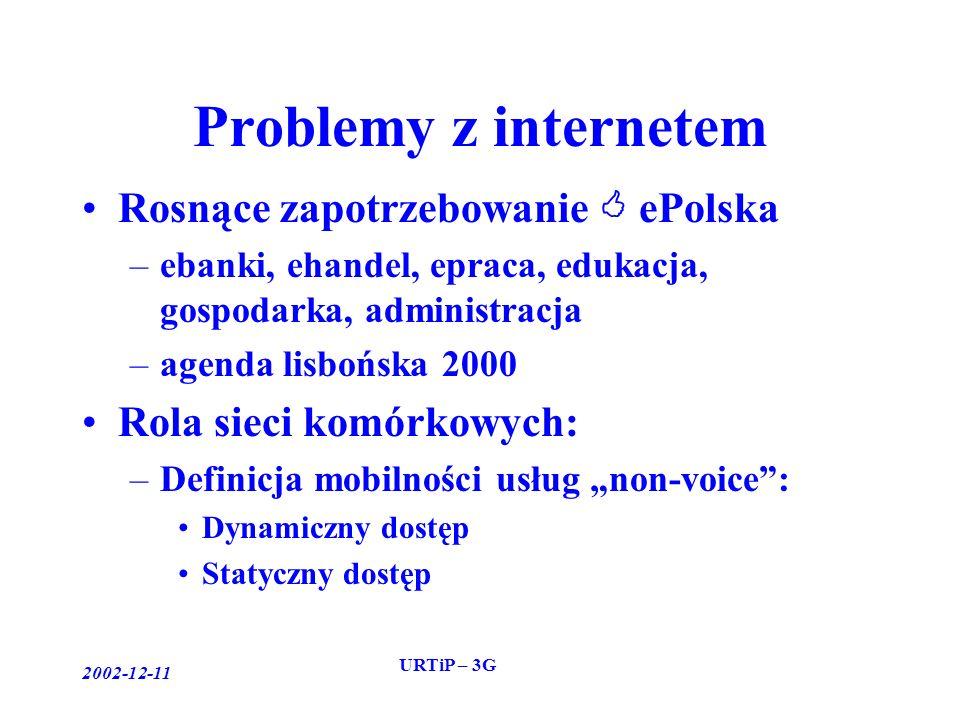 2002-12-11 URTiP – 3G Problemy z internetem Rosnące zapotrzebowanie ePolska –ebanki, ehandel, epraca, edukacja, gospodarka, administracja –agenda lisbońska 2000 Rola sieci komórkowych: –Definicja mobilności usług non-voice: Dynamiczny dostęp Statyczny dostęp