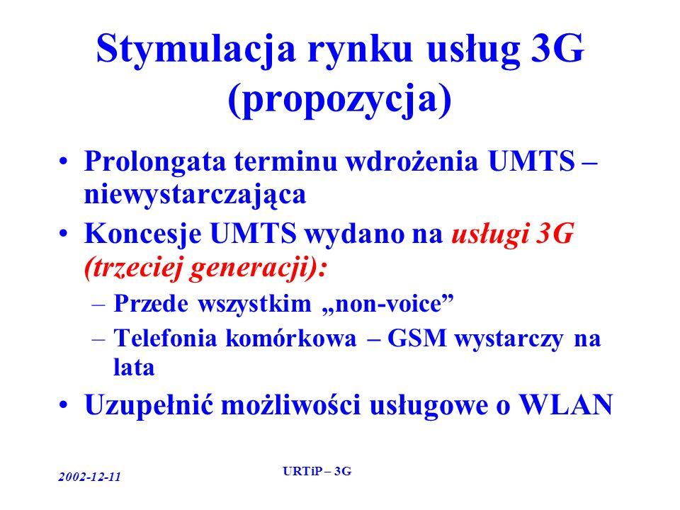 2002-12-11 URTiP – 3G Stymulacja rynku usług 3G (propozycja) Prolongata terminu wdrożenia UMTS – niewystarczająca Koncesje UMTS wydano na usługi 3G (trzeciej generacji): –Przede wszystkim non-voice –Telefonia komórkowa – GSM wystarczy na lata Uzupełnić możliwości usługowe o WLAN