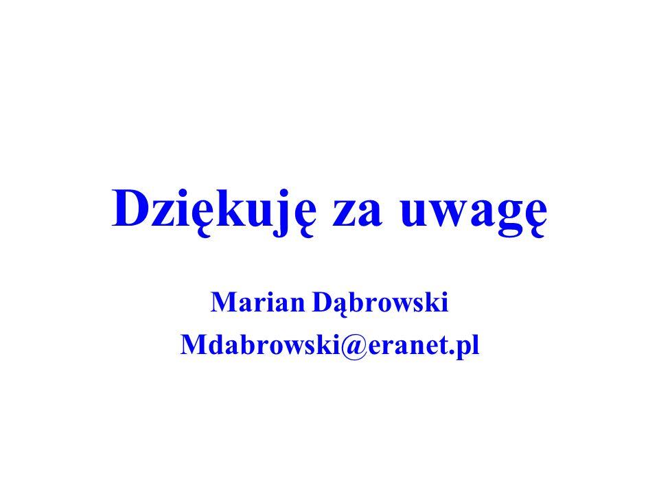 Dziękuję za uwagę Marian Dąbrowski Mdabrowski@eranet.pl