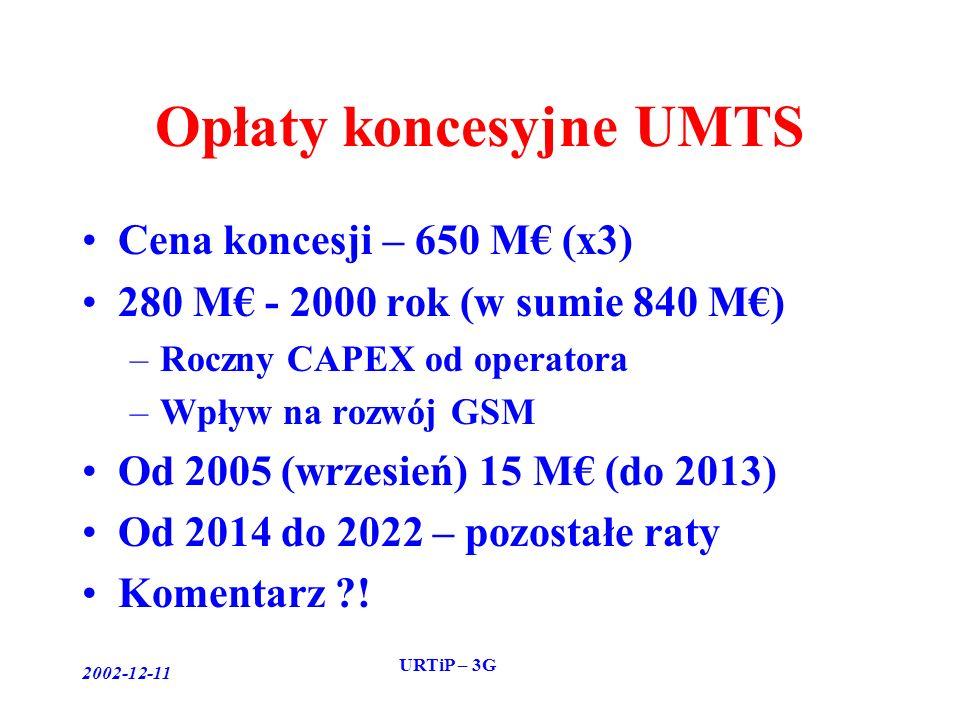 2002-12-11 URTiP – 3G Opłaty koncesyjne UMTS Cena koncesji – 650 M (x3) 280 M - 2000 rok (w sumie 840 M) –Roczny CAPEX od operatora –Wpływ na rozwój GSM Od 2005 (wrzesień) 15 M (do 2013) Od 2014 do 2022 – pozostałe raty Komentarz !