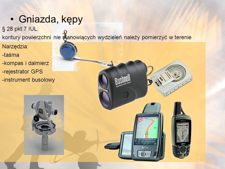 Narzędzia: -taśma -kompas i dalmierz -rejestrator GPS -instrument busolowy § 28 pkt.7 IUL: kontury powierzchni nie stanowiących wydzieleń należy pomie