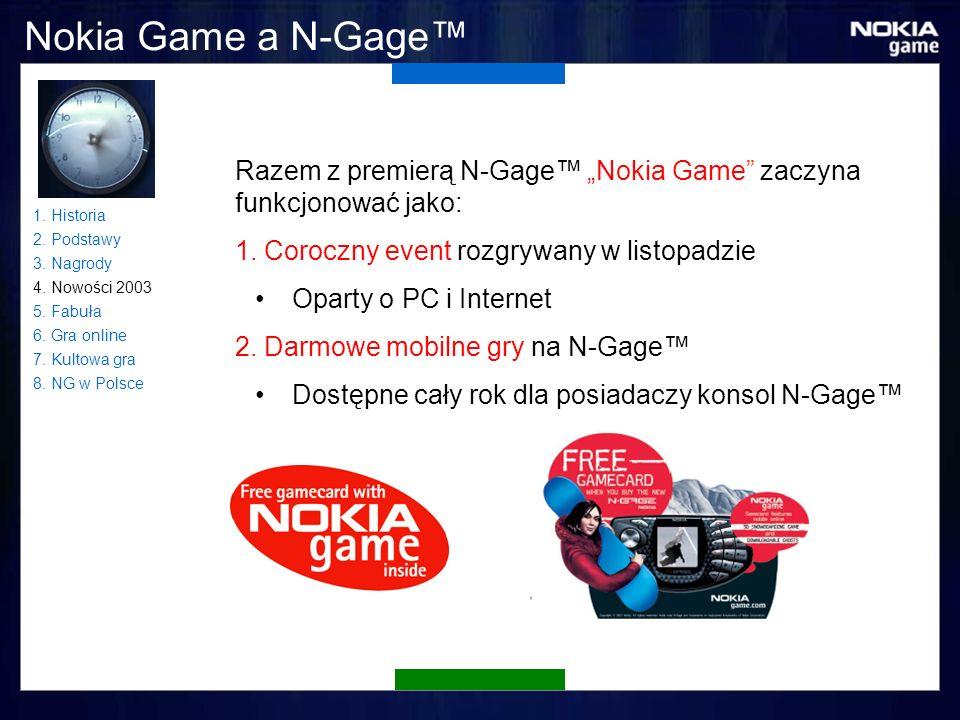 Nokia Game a N-Gage Razem z premierą N-Gage Nokia Game zaczyna funkcjonować jako: 1.