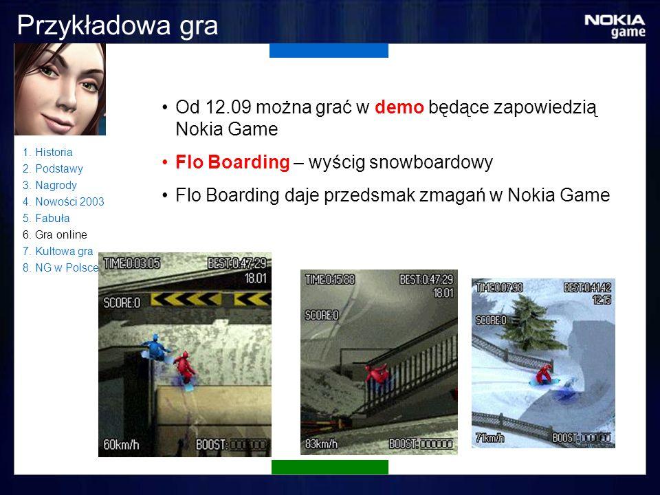 Przykładowa gra Od 12.09 można grać w demo będące zapowiedzią Nokia Game Flo Boarding – wyścig snowboardowy Flo Boarding daje przedsmak zmagań w Nokia Game 1.