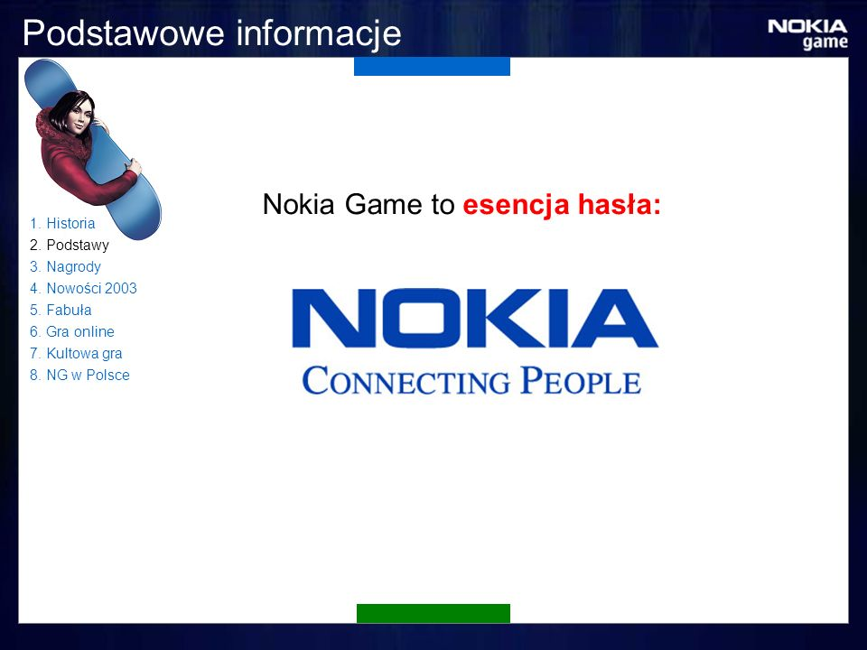 Podstawowe informacje Nokia Game to esencja hasła: 1.