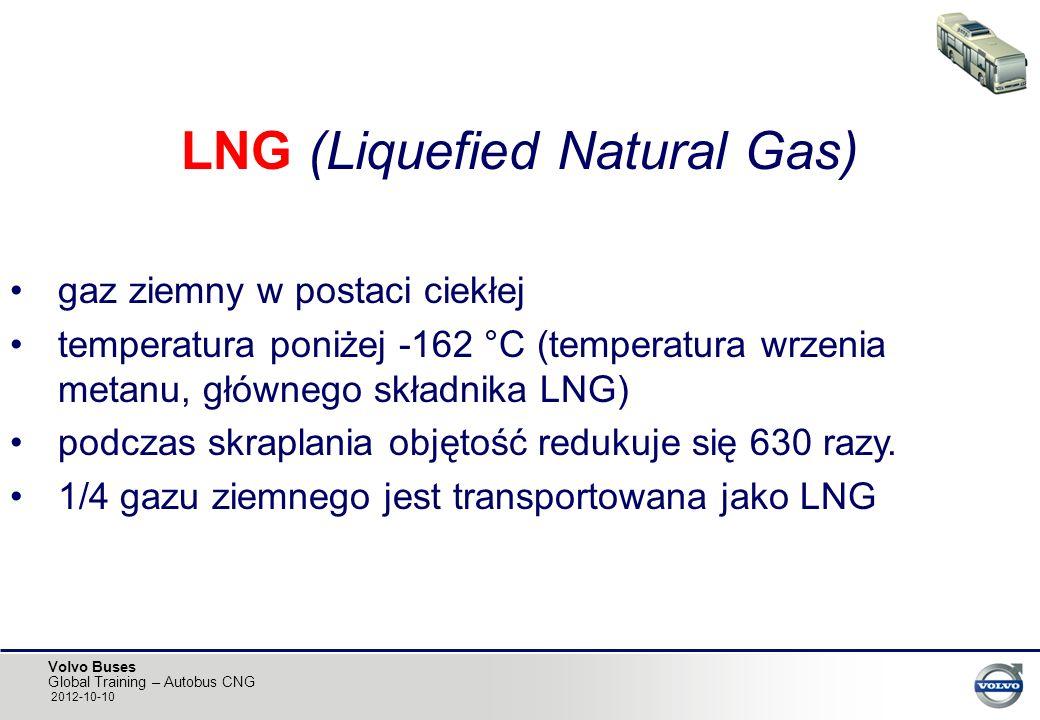 Volvo Buses Global Training – Autobus CNG 2012-10-10 LNG (Liquefied Natural Gas) gaz ziemny w postaci ciekłej temperatura poniżej -162 °C (temperatura