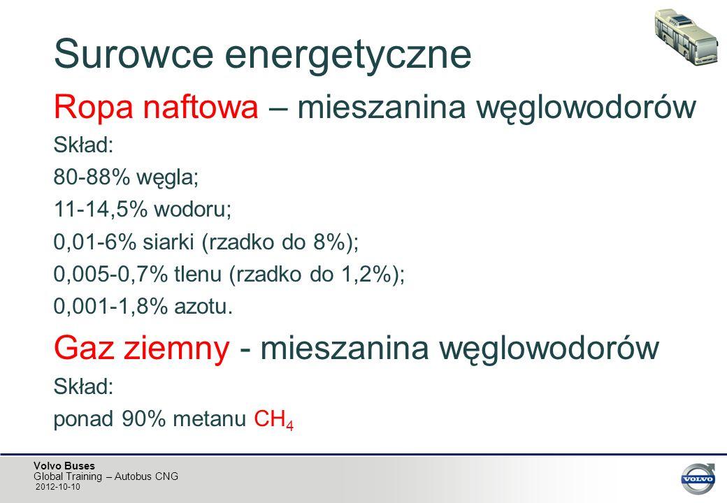 Volvo Buses Global Training – Autobus CNG 2012-10-10 Surowce energetyczne Ropa naftowa – mieszanina węglowodorów Skład: 80-88% węgla; 11-14,5% wodoru;