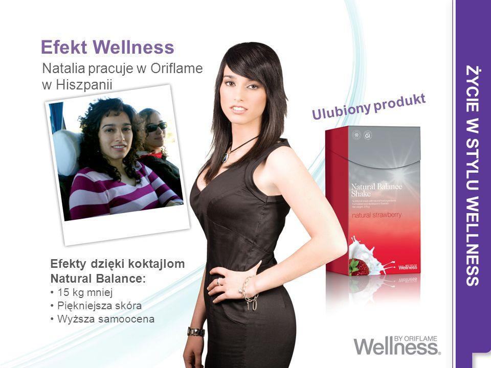 Efekt Wellness Natalia pracuje w Oriflame w Hiszpanii Efekty dzięki koktajlom Natural Balance: 15 kg mniej Piękniejsza skóra Wyższa samoocena Ulubiony