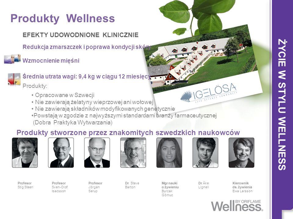 Produkty Wellness EFEKTY UDOWODNIONE KLINICZNIE Redukcja zmarszczek i poprawa kondycji skóry Wzmocnienie mięśni Średnia utrata wagi: 9,4 kg w ciągu 12