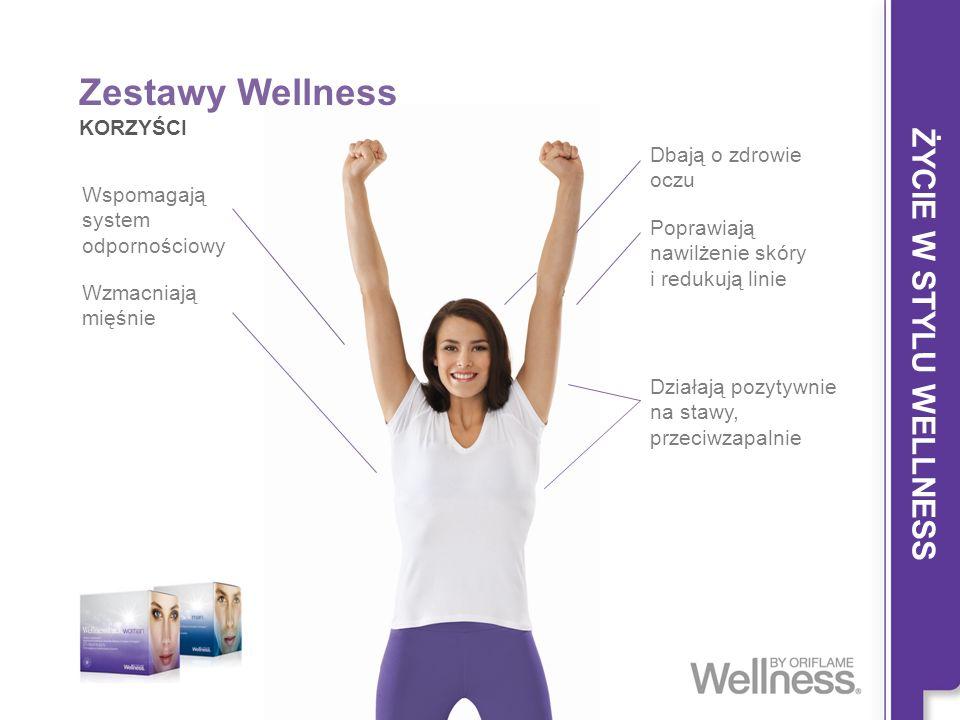 ŻYCIE W STYLU WELLNESS Wspomagają system odpornościowy Zestawy Wellness KORZYŚCI Wzmacniają mięśnie Poprawiają nawilżenie skóry i redukują linie Dział