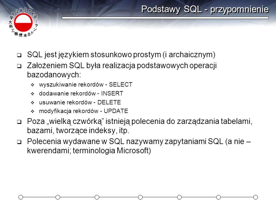 Podstawy SQL - przypomnienie SQL jest językiem stosunkowo prostym (i archaicznym) Założeniem SQL była realizacja podstawowych operacji bazodanowych: w