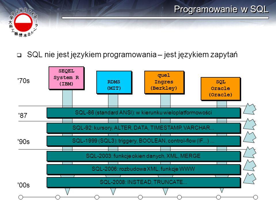 Programowanie w SQL SQL nie jest językiem programowania – jest językiem zapytań SEQEL System R (IBM) SEQEL System R (IBM) '70s RDMS (MIT) RDMS (MIT) q