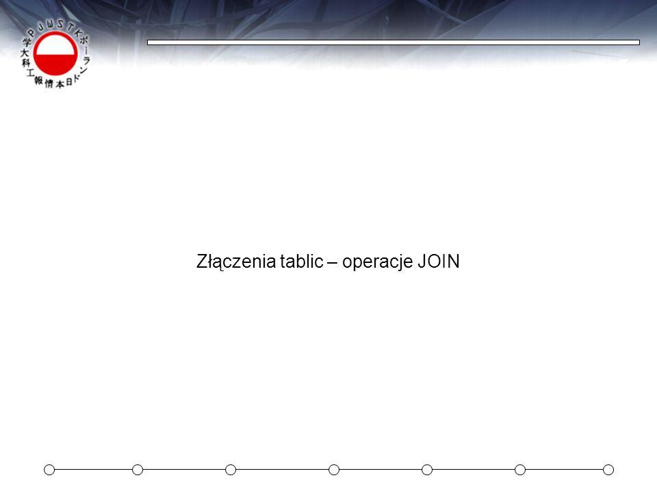 Złączenia tablic – operacje JOIN