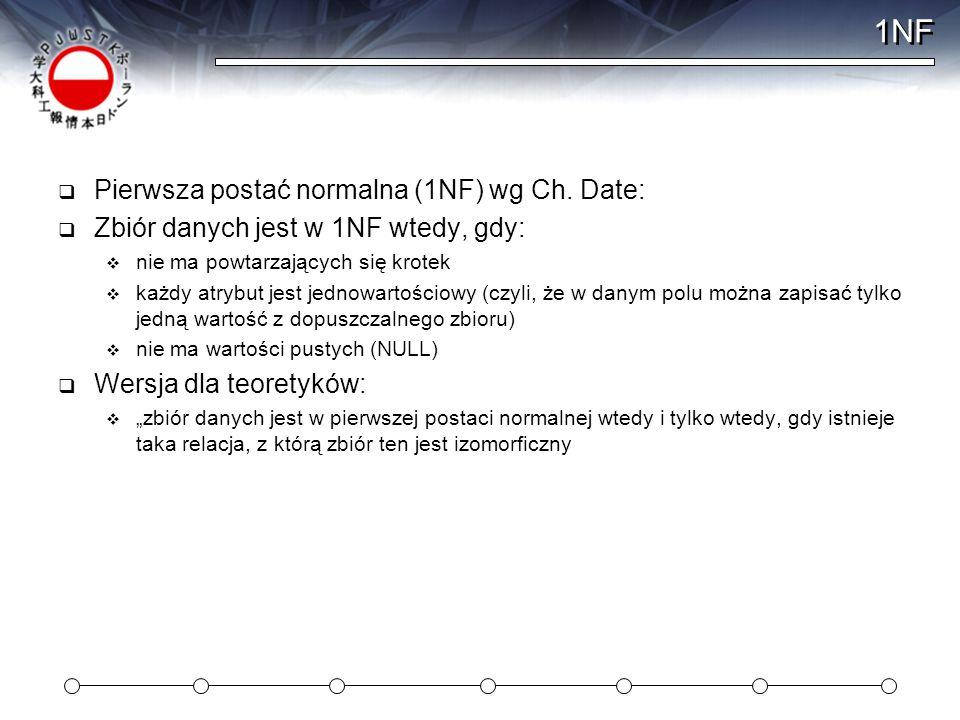 1NF Pierwsza postać normalna (1NF) wg Ch. Date: Zbiór danych jest w 1NF wtedy, gdy: nie ma powtarzających się krotek każdy atrybut jest jednowartościo