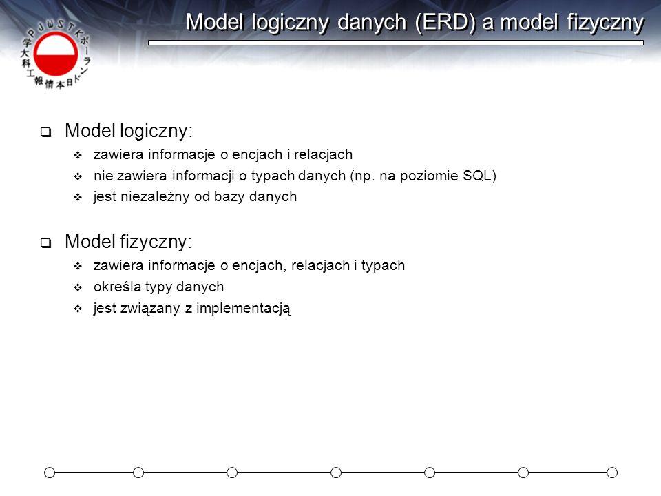Model logiczny danych (ERD) a model fizyczny Model logiczny: zawiera informacje o encjach i relacjach nie zawiera informacji o typach danych (np. na p