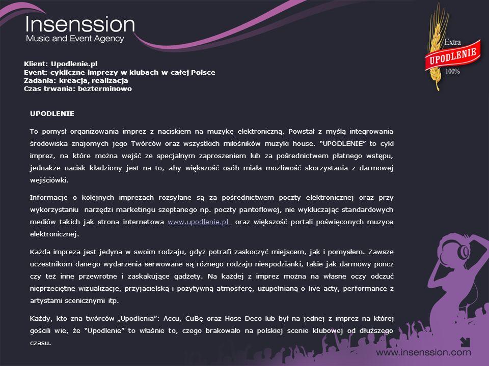 Miejsce: Klub Hydrozagadka Warszawa Data: 23 marca 2008 Frekwencja: 150 – 200 osób 23 marca 2008 roku w klubie Hydrozagadka Warszawie odbyła się inauguracyjna impreza Upodlenia.
