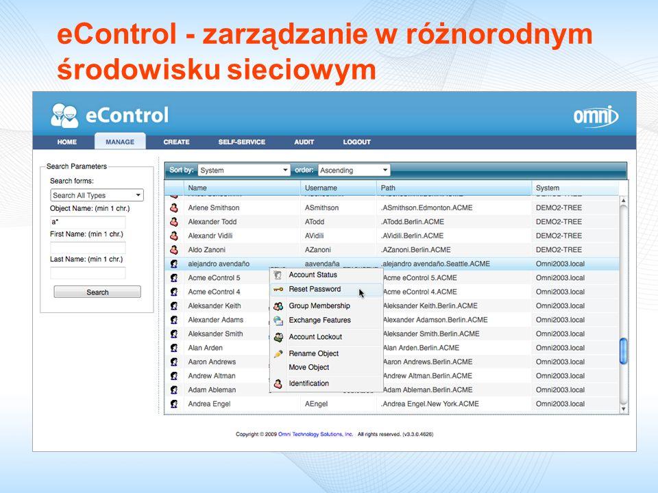 eControl - zarządzanie w różnorodnym środowisku sieciowym