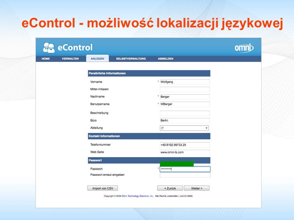 eControl - możliwość lokalizacji językowej