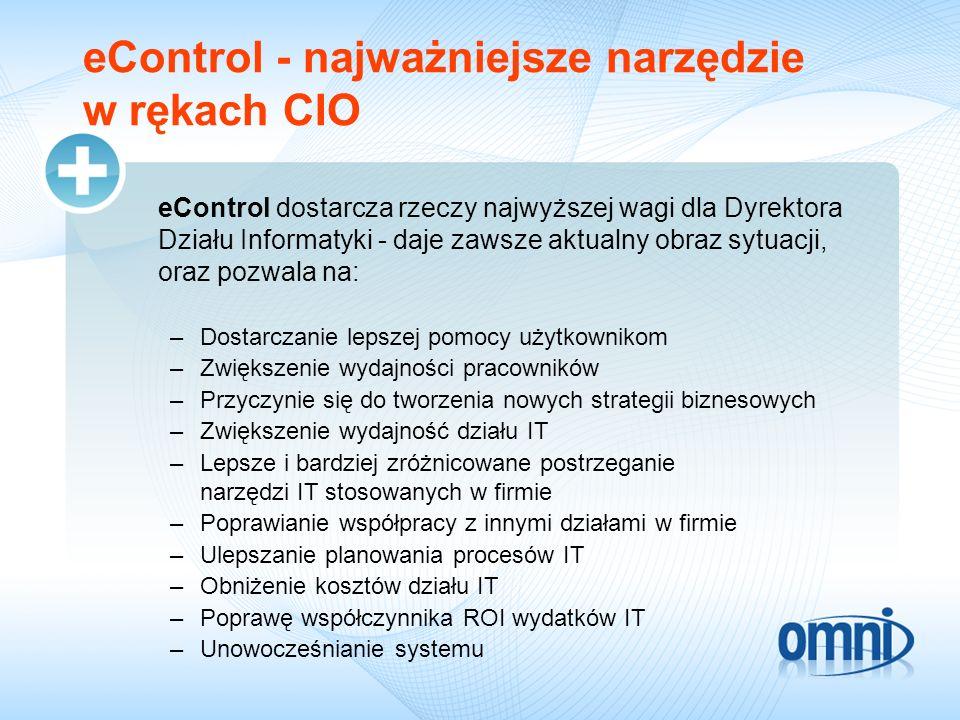 eControl dostarcza rzeczy najwyższej wagi dla Dyrektora Działu Informatyki - daje zawsze aktualny obraz sytuacji, oraz pozwala na: –Dostarczanie lepszej pomocy użytkownikom –Zwiększenie wydajności pracowników –Przyczynie się do tworzenia nowych strategii biznesowych –Zwiększenie wydajność działu IT –Lepsze i bardziej zróżnicowane postrzeganie narzędzi IT stosowanych w firmie –Poprawianie współpracy z innymi działami w firmie –Ulepszanie planowania procesów IT –Obniżenie kosztów działu IT –Poprawę współczynnika ROI wydatków IT –Unowocześnianie systemu eControl - najważniejsze narzędzie w rękach CIO