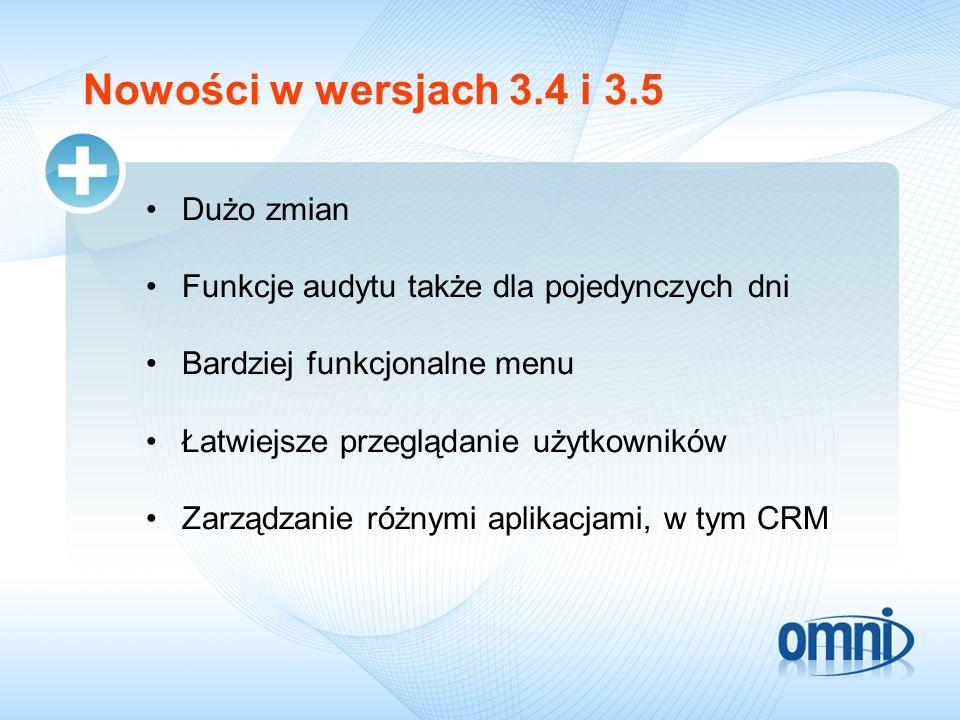 Nowości w wersjach 3.4 i 3.5 Dużo zmian Funkcje audytu także dla pojedynczych dni Bardziej funkcjonalne menu Łatwiejsze przeglądanie użytkowników Zarządzanie różnymi aplikacjami, w tym CRM