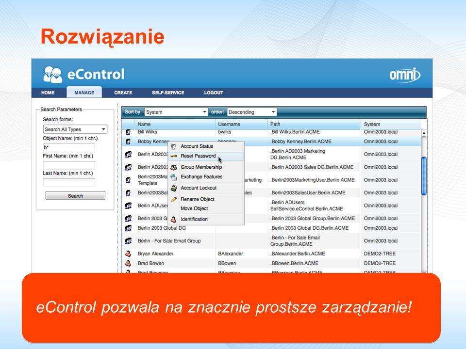 Rozwiązanie eControl pozwala na znacznie prostsze zarządzanie!