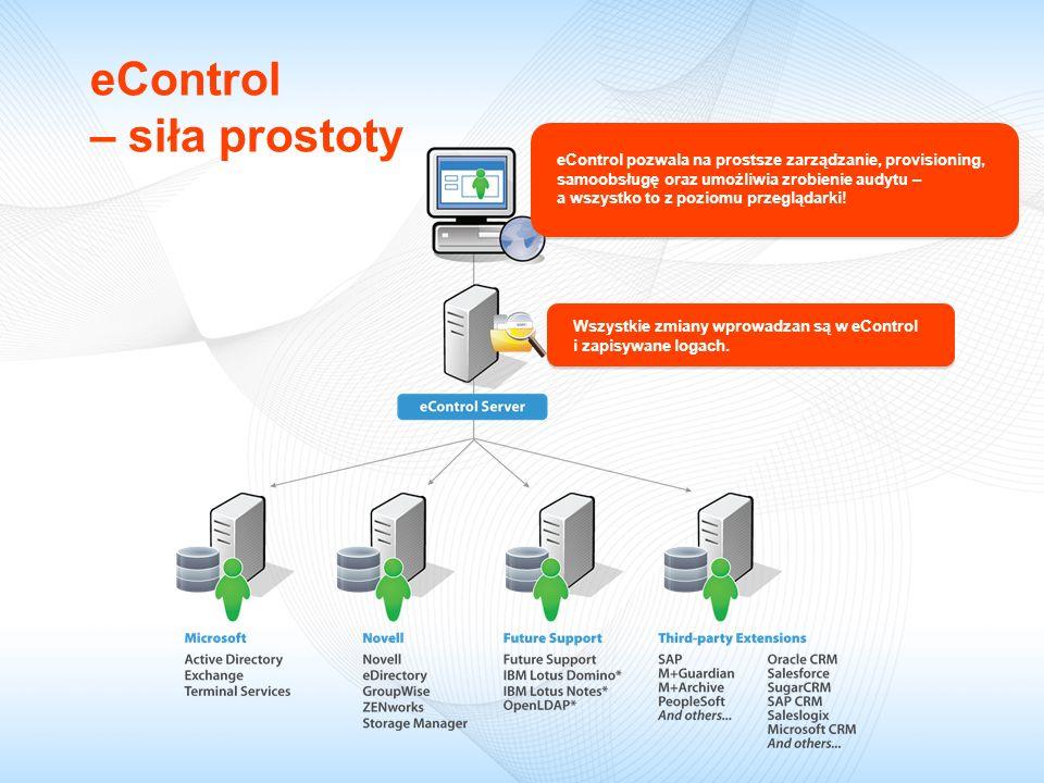 eControl – siła prostoty eControl pozwala na prostsze zarządzanie, provisioning, samoobsługę oraz umożliwia zrobienie audytu – a wszystko to z poziomu przeglądarki.