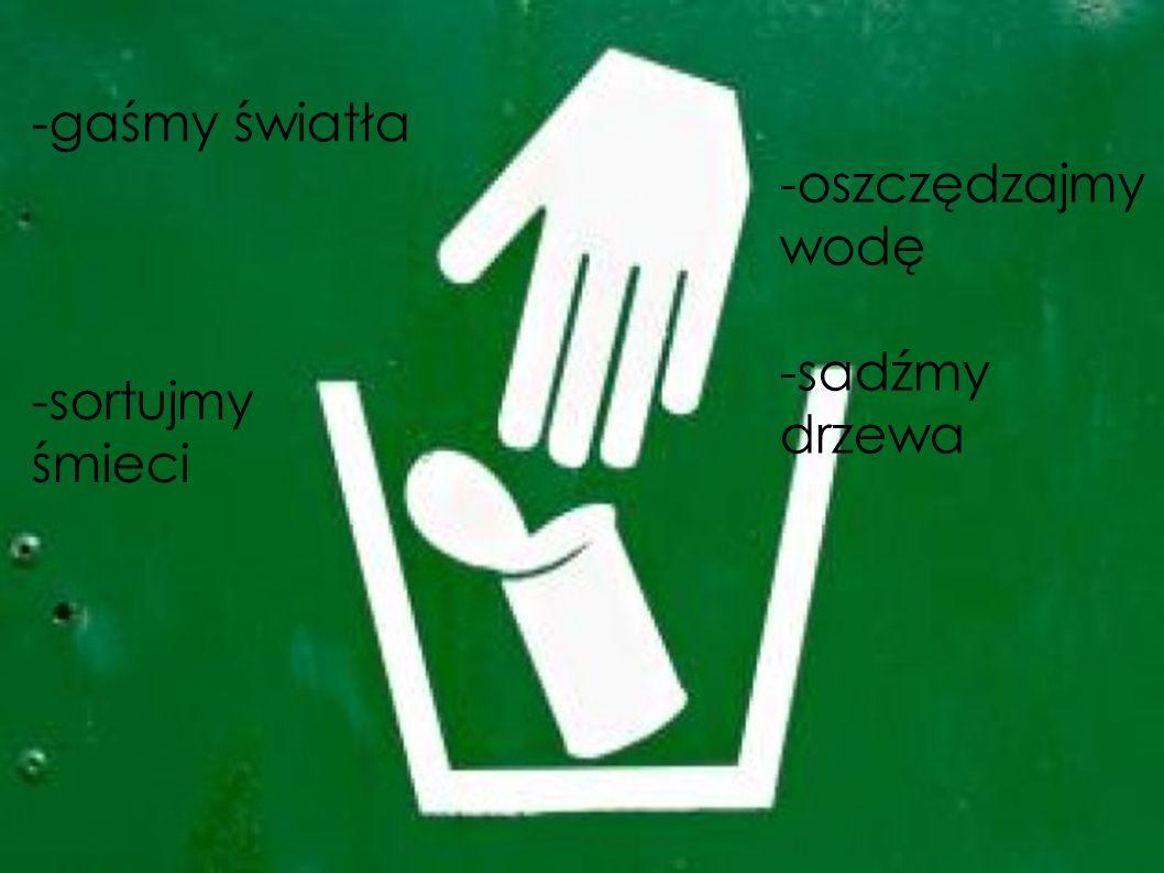 -gaśmy światła -sortujmy śmieci -oszczędzajmy wodę -sadźmy drzewa