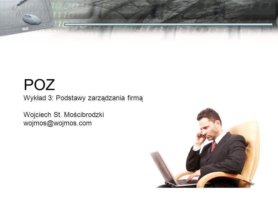 POZ Wykład 3: Podstawy zarządzania firmą Wojciech St. Mościbrodzki wojmos@wojmos.com