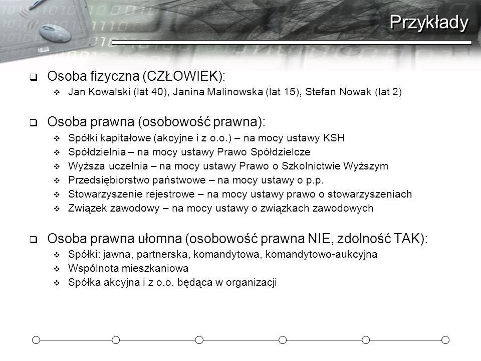 Przykłady Osoba fizyczna (CZŁOWIEK): Jan Kowalski (lat 40), Janina Malinowska (lat 15), Stefan Nowak (lat 2) Osoba prawna (osobowość prawna): Spółki k